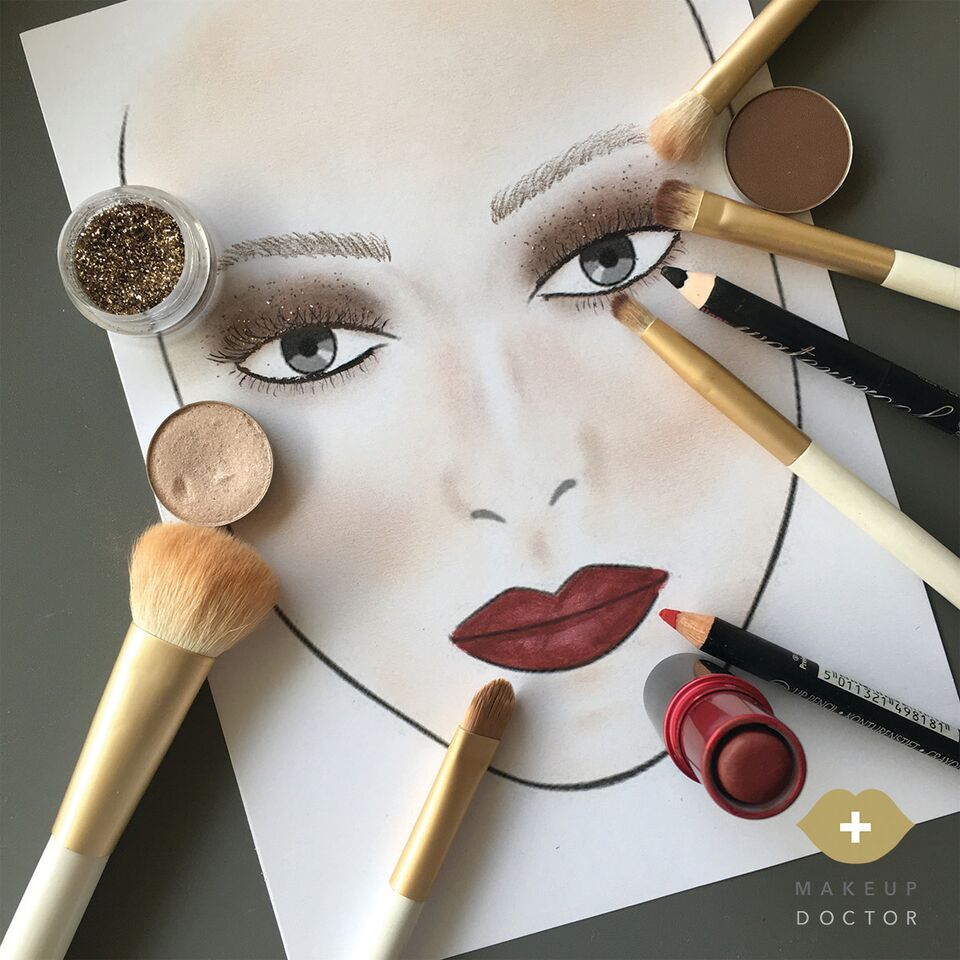 Face chart and products used